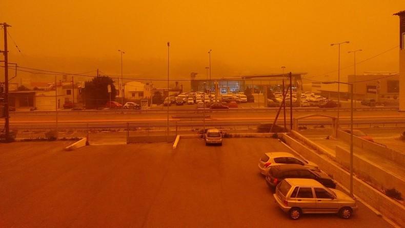 Wie auf dem Mars: Extreme Hochtemperatur und Staub aus Nordafrika färben Luft auf Kreta rot [FOTOS]