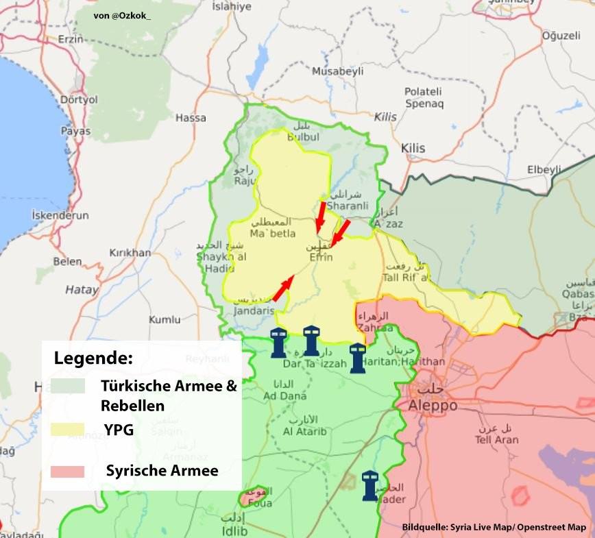 """Erdoğan : """"Wir haben Afrin-Stadt eingekesselt und können jederzeit einrücken"""""""