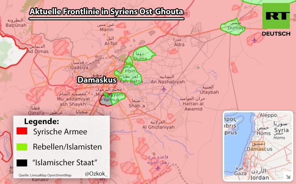 Aufständische vor dem Kollaps: Syrische Armee spaltet Ost-Ghuta in drei Teile auf