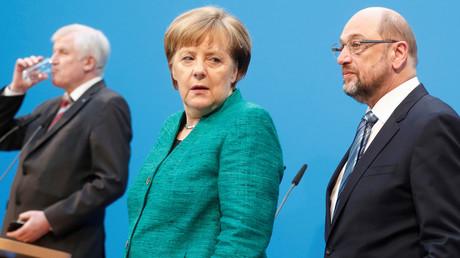 Horst Seehofer, Angela Merkel und Martin Schulz, Berlin, Deutschland, 7. Februar 2018.