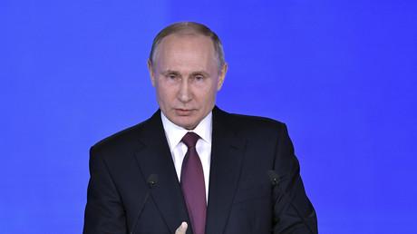 Der russische Präsident während seiner Rede.