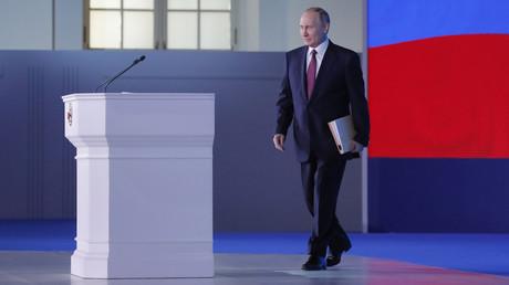 Der russische Präsident kurz vor seiner Rede.