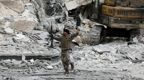 Szene aus einem Dorf nahe Afrin in Syrien