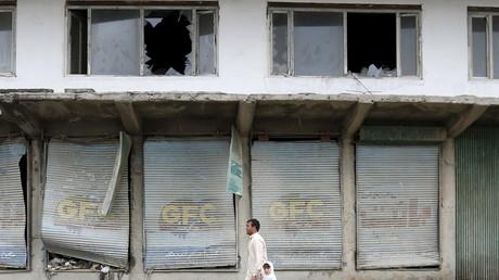 Zerstörte Läden nach einem Selbstmordattentat in Kabul, Afghanistan, 19. April 2016.