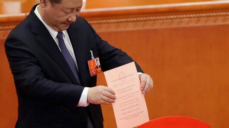 Xi Jinping bei der Abgabe seiner Stimme zur Verfassungsänderung, Peking, China, 11.März 2018.