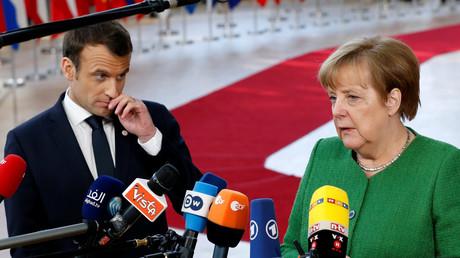 Angela Merkel und Emmanuel Macron, Brüssel, Belgien, 23. Februar 2018.