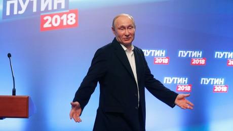 Der russische Präsident wurde wiedergewählt. Auf dem Bild: Putin am 18. März nach Bekanntgabe der ersten Wahlergebnisse.