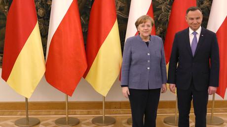 Angela Merkel und Andrzej Duda in Warschau, Polen, 19. März 2018.