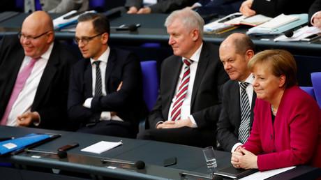 Peter Altmaier, Heiko Maas, Horst Seehofer, Olaf Scholz, Angela Merkel im Berlin, Deutschland, 21. März 2018.