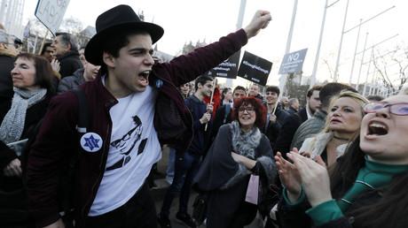 Aufgeheizte Stimmung am Montag in London: Demonstration gegen den