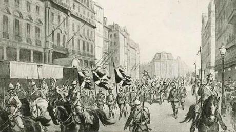 Historische Postkarte vom Einzug deutscher Truppen in Brüssel am 20. August 1914
