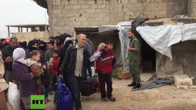 Nach russischer Vermittlung: Zivilisten verlassen Ost-Ghuta durch humanitären Korridor