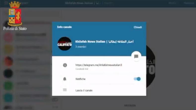 """Minderjähriger Italiener wirbt für Terror – Behörden lassen seinen Kanal bei """"Telegram"""" löschen"""