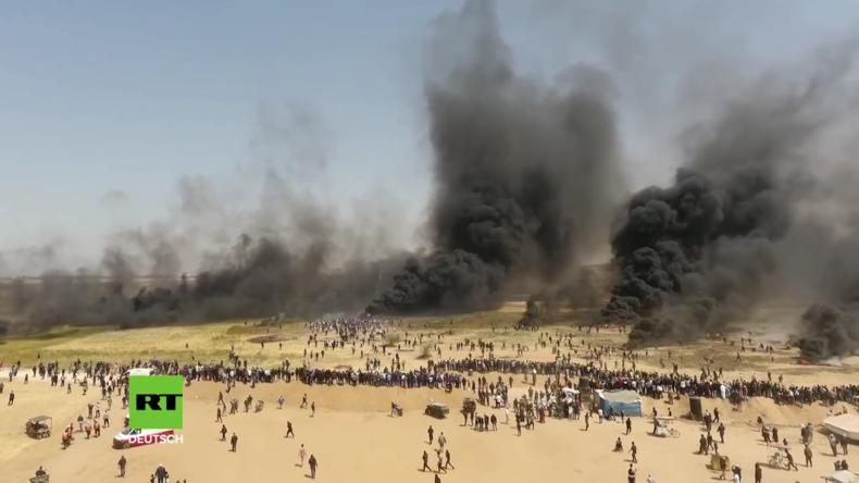 Palästina: Drohnenaufnahmen zeigen Proteste an der Grenze zwischen Israel und Gaza