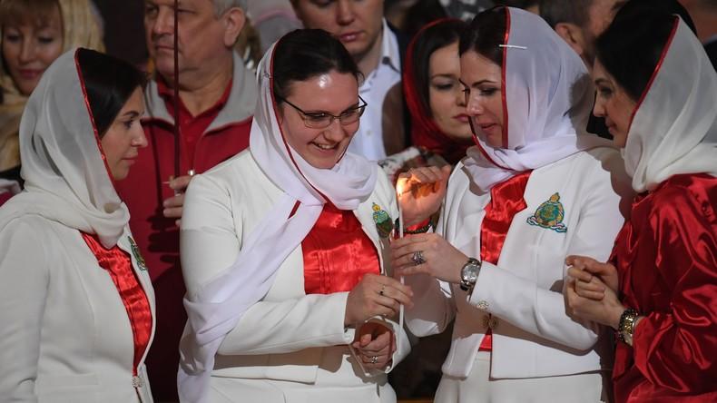 Ostern: Russisch-orthodoxer Gottesdienst in Christ-Erlöser-Kathedrale in Moskau