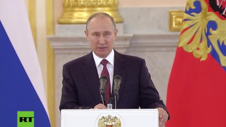 """Putin: """"Werden uns weiterhin für das Wohlergehen und den Wohlstand der Menschheit einsetzen"""""""