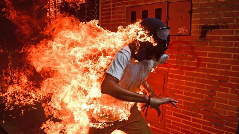 """Propaganda als reißerisches Fotospektakel: Der """"brennende Mann"""" aus Venezuela"""