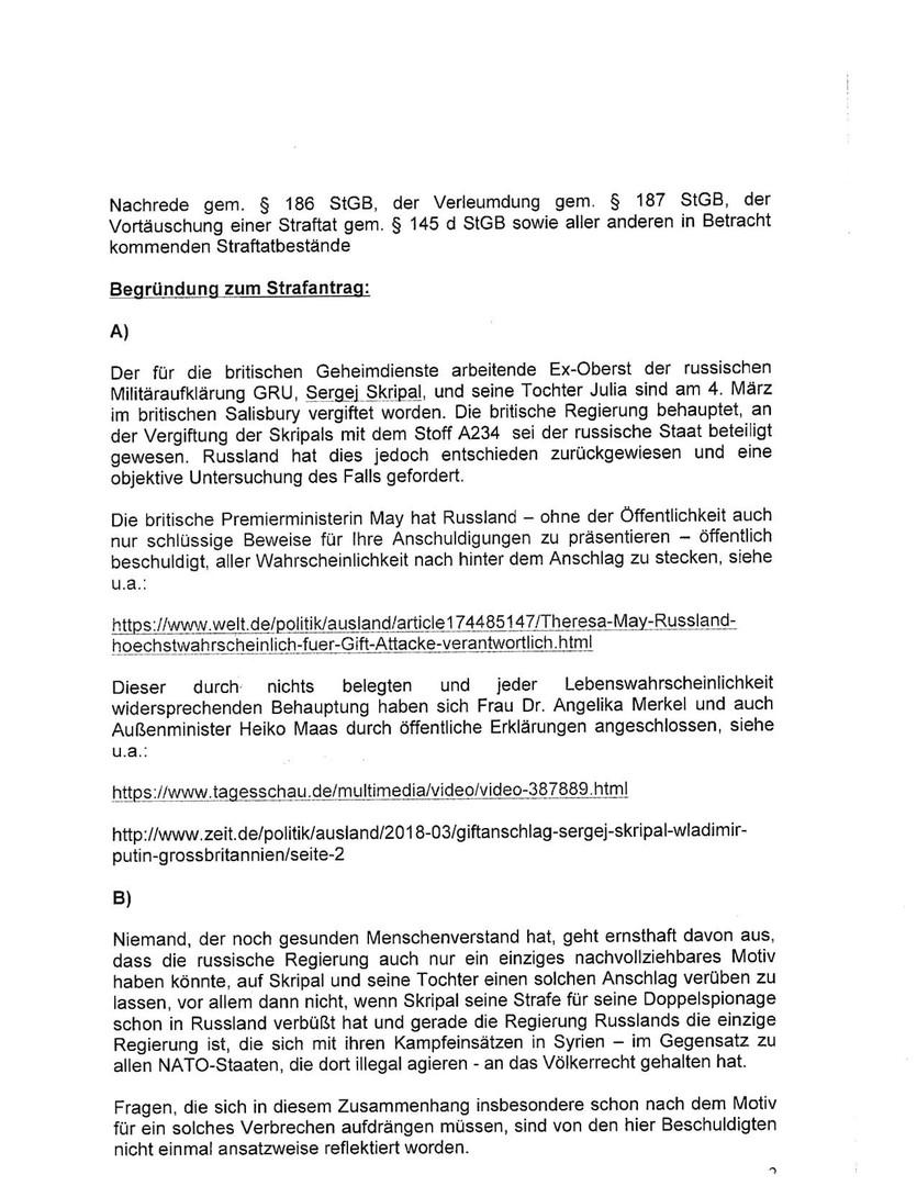 Causa Skripal: Strafanzeige wegen Volksverhetzung gegen Bundeskanzlerin Angela Merkel eingereicht