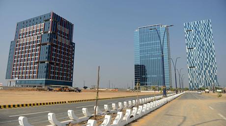 Bürogebäude in der GIFT City in Gandhinagar im westindischen Bundesstaat Gujarat