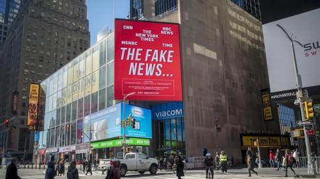 Werbetafel auf dem Times Square in New York, 5. Februar 2018