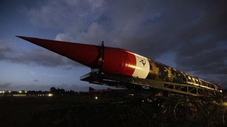 Eine deaktivierte sowjetische Mittelstreckenrakete von 1962 vom Typ SS-4 in Havanna, Kuba.