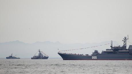 Russische Kriegsschiffe patrouillieren im Gedenken an das Ende des Zweiten Weltkriegs nahe Juschno-Sachalinsk, Russland, 2. September 2015.