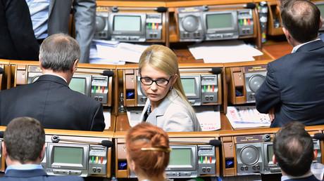 Julia Timoschenko (M.)  im Kiewer Parlament