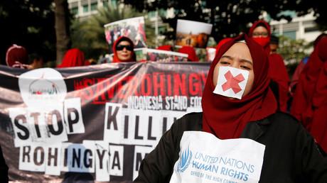 Solidaritätsdemonstration für die Rohingya in Jakarta, Indonesien, 3. September 2017.