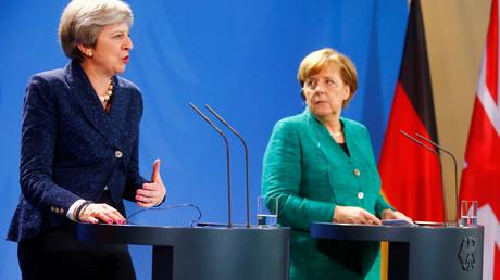 Die britische Premierministerin Theresa May während der gemeinsamen Presse-Konferenz mit der deutschen Regierungschefin Angela Merkel am 16. Februar 2018 in Berlin.