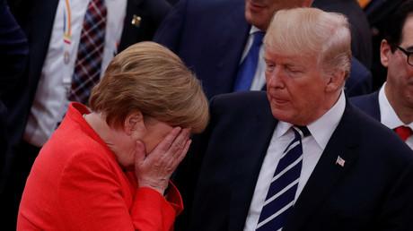 Angela Merkel und Donald Trump auf dem G20-Gipfel, Hamburg, Deutschland, 7. Juli 2017.