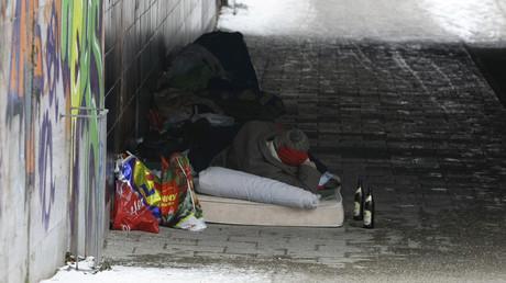 Obdachloser in München, Deutschland, 29. Januar 2009.