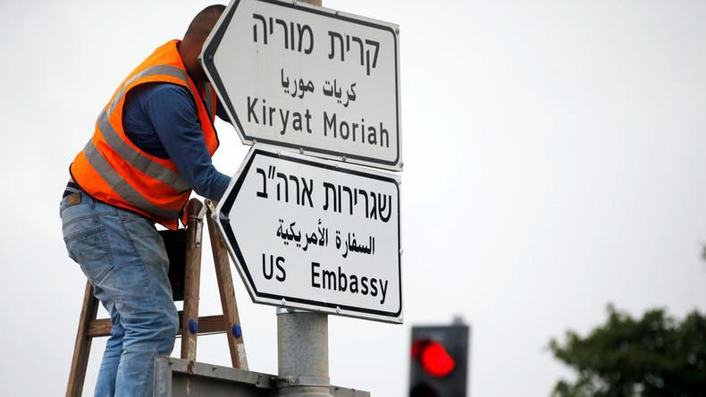 Jerusalem stellt Wegweiser für neue US-Botschaft auf