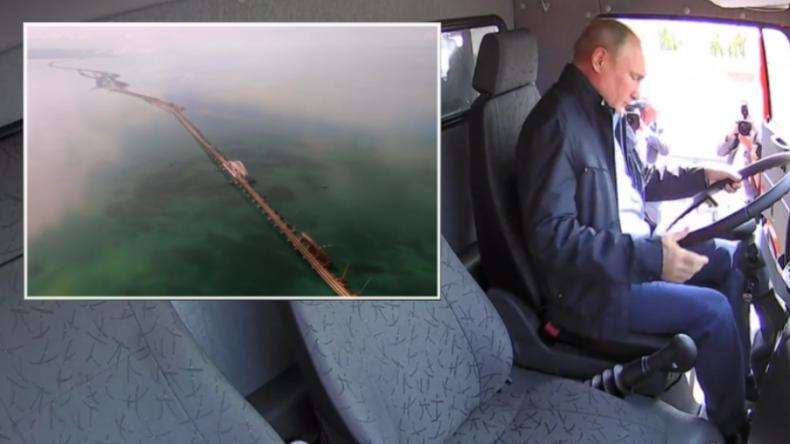 """""""Symbol der Einheit und Freiheit"""" - Putin fährt von Krim aus mit LKW über längste Brücke Europas"""