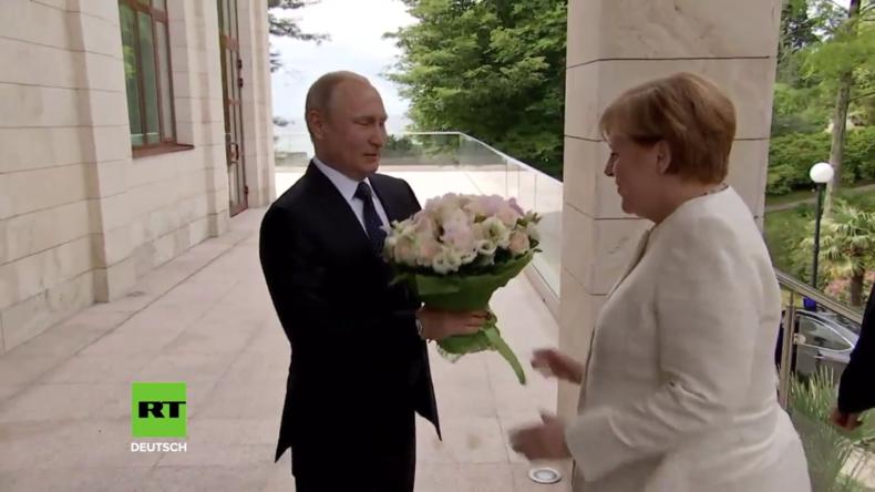 Russland: Putin begrüßt Merkel in Sotschi mit weißem Rosenstrauß