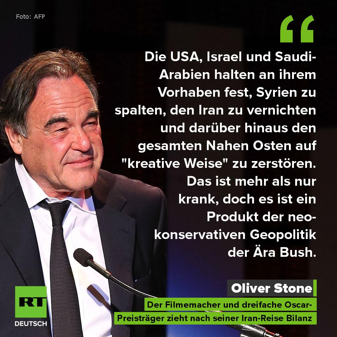 """Oliver Stone resümiert nach Besuch im Iran: """"Wir lieben die angebliche chemische Kriegsführung"""""""