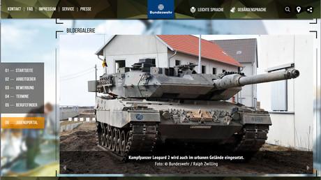 Die Bundeswehr wirbt damit, schweres Geschütz im urbanen Raum zu erproben. (Screenshot Internetseite der Bundeswehr)