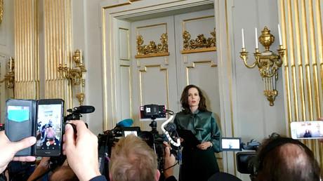 Archivbild: Sara Danius, Ständige Sekretärin der Schwedischen Akademie, gibt den Gewinner des Nobelpreises für Literatur in Stockholm, 5. Oktober 2017, bekannt.