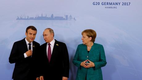 Emmanuel Macron, Wladimir Putin und Angela Merkel beim G20-Gipfel in Hamburg, Deutschland, 8. Juli 2017.