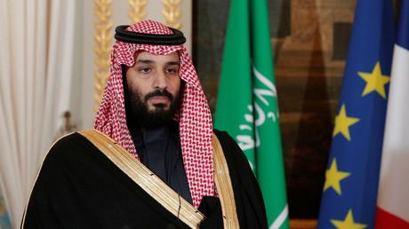 Der saudi-arabische Kronprinz Mohammed bin Salman am 10. April 2018 während einer Pressekonferenz im Élysée-Palast in Paris, Frankreich.