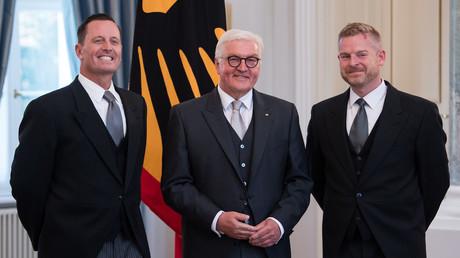 Richard Allen Grenell, Frank-Walter Steinmeier, Matthew Lashey, 8. Mai 2018 Berlin, Deutschland.