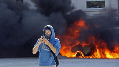 Symbolfoto: Demonstrant bei Protesten in Taksim, Istanbul, Türkei, 11. Juni 2013.
