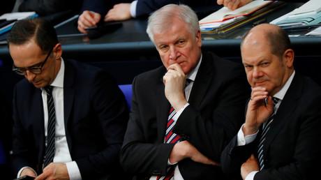 Heiko Maas, Horst Seehofer, Olaf Scholz im Bundestag in Berlin, Deutschland, 21. März 2018.
