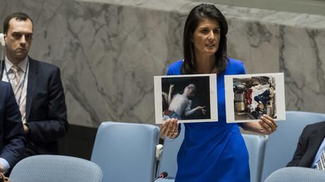 Setzt gerne auf Emotionen: Die UN-Botschafterin der USA, Nikki Haley, präsentierte dem UN-Sicherheitsrat im April 2017 Bilder toter Kinder, die der syrischen Armee zum Opfer gefallen sein sollen.