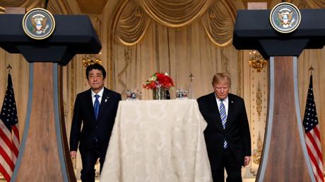 Shinzo Abe und Donald Trump, Florida, USA, 18. April 2018.