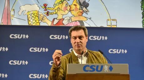 Der bayerische Ministerpräsident Markus Söder jüngst in einem Bierzelt in Indersdorf. Seit dem 16. März 2018 ist er Ministerpräsident des Freistaates Bayern und zugleich Spitzenkandidat der CSU für die Landtagswahl in diesem Jahr.