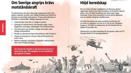 Erstmals seit 57 Jahren: Schweden verteilt Broschüre für Kriegs- und Krisenfall