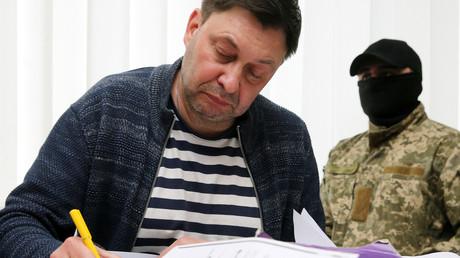 Der Chef von RIA Nowosti Ukraine, Kirill Wyschinski, bei der Anhörung vor einem Gericht im südukrainischen Cherson am 17. Mai 2018.