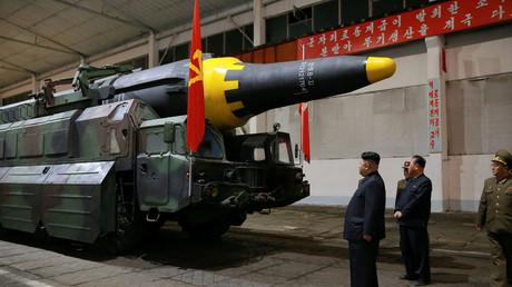 Kim Jong-un inspiziert eine ballistische Rakete, 2017.