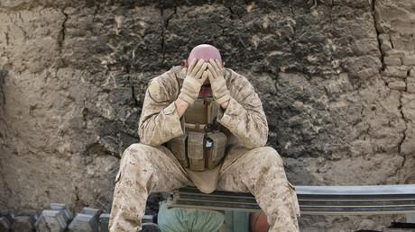 US-Marine außerhalb von Camp Gorgak in der Provinz Helmand, Afghanistan, 30. Juni 2011.