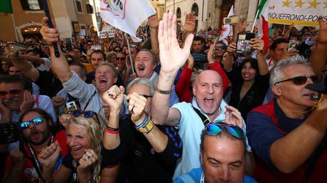 Demonstration der italienischen Fünf Sterne-Bewegung in Rom